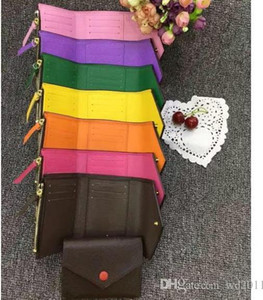 top quality women man with box leather multicolor short designer wallet Card holder classic zipper pocket Victorine