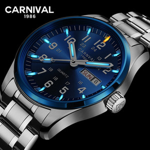Carnevale trizio T25 luminoso doppio calendario militare Svizzera orologio al quarzo di marca degli uomini orologi di lusso orologio impermeabile 2017 SH190929
