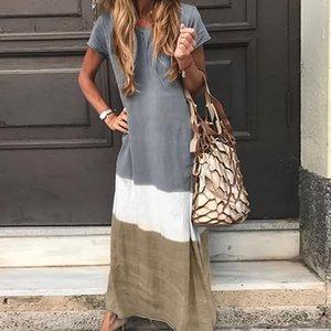 Hang Dye Summer Maxi Dress Patchwork Gradient Color Short Sleeve Beach Dresses Plus Size Women Cotton Dress Ladies 2019 MX200518