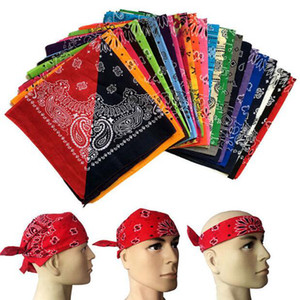 Hip Hop Square Bandanas 55 * 55cm Polyester Printed Paisley Headband Sports Holding Magic Scarves 19 Colors OA7632-1