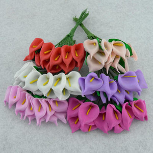 Simüle Calla Lily Tek Yaprak Mini Manuel Manuel İpek Çiçek Nikah Şekeri Kutusu Köpük Dekoratif Çiçekler 8 8hyE1