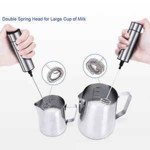 Electric Milk Frother Bubbler Stainless Steel 2 Whisk Hand Milk Foamer Kitchen Mixer for Coffee Cappuccino Beater with Stand