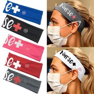 la leche elástico botón de envoltura de la cabeza enfermera seda hairband sweat turbante estiramiento Sombreros Accesorios para el cabello diadema hebilla