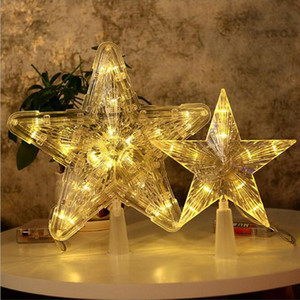 2Pcs LED Star Light Plastic Christmas 10 or 30 LEDs Glowing Festival Supplies Tree Topper Hanging Adornment for Bar Mall Home