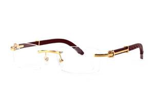 Sıcak satış ünlü marka erkekler lüks tasarımcı güneş gözlükleri erkekler çerçevesiz kutusu lens ile net lensler oyma ahşap güneş gözlüğü Buffalo Horn
