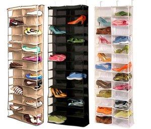 Útil 26 hogares sección de calzado de almacenamiento en rack sostenedor del organizador, plegable puerta del armario que cuelga de ahorro de espacio con 3 Color