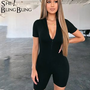 Sheblingbling Black Short Sleeve Fitness Playsuit Women Rompers Womens Jumpsuit Sport Outfits Zipper Casual Ladies Tracksuits T200620