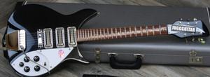 Rare Short Scale RIC John Lennon 325 Jetglo Nero Chitarra elettrica semi-vuota Tastiera lucida tastiera, Accento vibrato, Doppio livello bianco Protezione