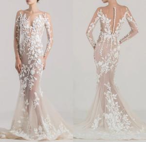 Vestidos de casamento de sereia elegante Vestidos de manga comprida Ver através de vestidos nupciais Plus size trompete vestido nupcial personalizar vestes de mariée