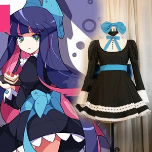 Uniform Costume Anime Panty Stocking Com Garterbelt Heroine Anarchy Stocking Black Dress Cosplay Mulheres Lolita empregada doméstica Suit partido