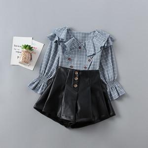 Las muchachas al por menor Sets de manga larga camisa de cuadros negros PU + cortocircuitos de la falda de los pantalones vaqueros 2019 Moda Otoño 2 piezas de traje de la ropa del bebé 2-6Y H223