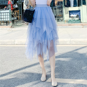 Trendy Women clothes High waist solid casual cotton Irregular Tulle Summer skirts one pieces