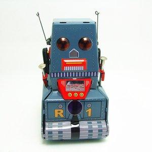 [Funny] Classic collection Retro Clockwork Wind up Metal Walking Tin Tank moon probe robot recall Mechanical toy kids gift