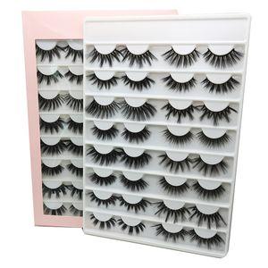 16 pares de 25 mm Pestañas Falsas Libro 3D 5D Faux Mink Pestañas Hecho A Mano Mullido Mullido Palgas Palezas Real Mink Palestes Maquillaje Grueso Pestañas falsas