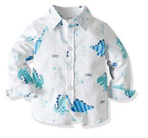 Spring and Autumn Boys Spring and Autumn Long Sleeve Cartoon Shirt Child Baby Cotton Shirt Cardigan Bottoming Shirt