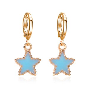 Korean Version The Blue Oil Drop Five-pointed Star Ear Buckle Korean Sweet Earrings Simple Temperament Wild Ins Net Red Earrings