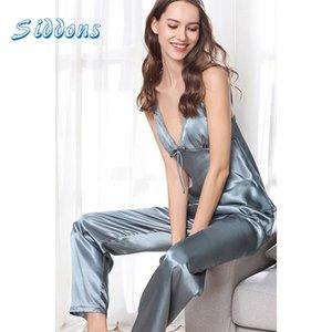 Siddons 2 pezzi autunno Homewear donne eleganti signore seta atin Sleepwear bamboletta sexy della biancheria da notte lunghi insiemi della mutanda