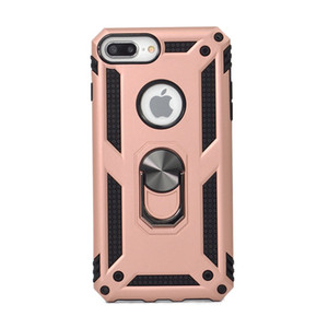 Hybrid Back Case Dual Layer Shockproof Armor with 360 Degree Rotating Magnet Ring Kickstand for Iphone 11 6 7 8 6p 7P 8P X XR Xs Max