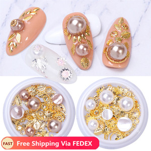 1 Box 3D Nail Art Decorations Stud Accessories Mixed Pearls Alloy Rivet Nail Rhinestones Charm Strass Manicure Jewelry