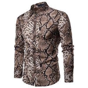 Тенденции моды для мужчин с длинным рукавом Кнопка рубашка Топы Slim Fit Уникальный стильный Snake Pattern кожи Рубашки Pre-осень Одежда