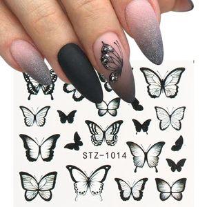 NUOVO farfalla Nail Trasferimento Stickers decalcomanie dell'acqua colorata Blu Black Design arte del chiodo del manicure Sliders avvolge Fogli
