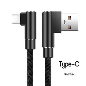 Cable de tejido tipo C de 90 grados para Huawei Samsung de alta calidad 2A Cable de carga rápida en forma de L Cable de cargador para juego de teléfono 021