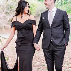 2020 Sexy Black Mermaid платья невесты бретельках Формальное свадебное Гость платье партии плюс размер Side Split Maid Of Honor Gowns