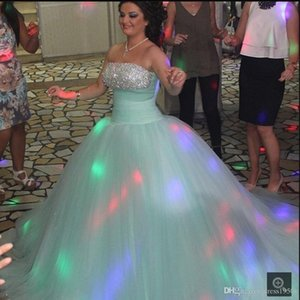 Mint Green Princess Ball Gown Quinceanera Dresses Pleated Puffy Formal Evening Party Gowns Sweet 16 Dresses Floor Length vestidos de quincea