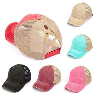 Donna Coda di cavallo Berretto da baseball lavato Distressed Denim Hat sudicio alta Bun Mesh regolabile Hat DDA4