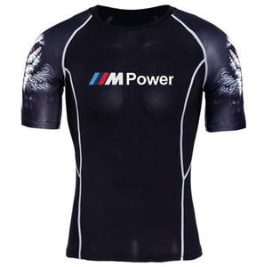 الرجال ضغط قمصان قصيرة الأكمام تي شيرت للياقة البدنية للرجال ليكرا MMA نجوم النادي الأهلي موتورسبورت شيفتر B.MW M الطاقة التي شيرت الطباعة
