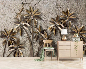Beibehang Custom wallpaper Modern fashion personality marbled golden Coconut tree mural TV background wall 3d