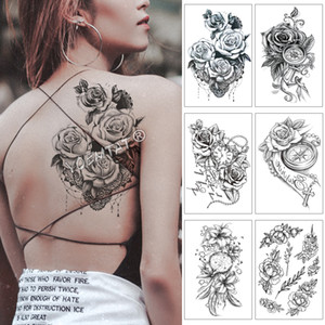 provisoria tatuajes en forma de corazón falso Reloj Joya Rose impermeable tatuaje temporal Etiqueta Negro brazo hacia atrás grande de las flores Tatto Body Art Tatoo F ...