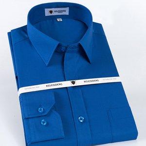 Männer Langarm Wrinkle Free Dress Shirt Einzelaufgesetzten Taschen Standardpassform Formal Business Basic Design-Twill Shirts