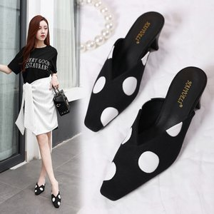 Pretty2019 Cloth Season 19 Couverture Sharp Small Square Low avec une pédale Chaussures Femme Dawdler Baotou Half Slipper