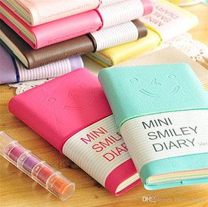 De cores doces atacado Blocos Moda bonito Charme Mini Smiley papel do diário Blocos Memo livro de couro Blocos de notas papelaria Pocketbook