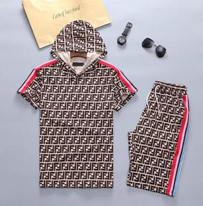 Eşofman İnce Yaz Kısa Erkek Tasarımcı T Gömlek Kapşonlu Pamuk İki adet Seti Casual Luxury Eşofman Erkek Tasarımcı Asya Boyutu eşofman
