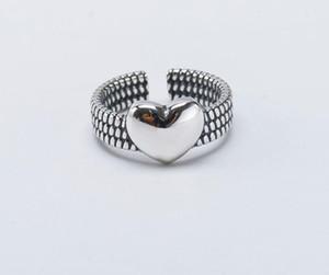 Amour forme de coeur mode S925 Bague en argent sterling bijoux anneau ouvert