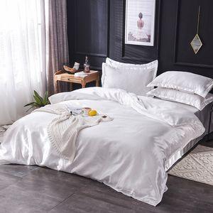 고급 100 % 실크 침구 세트 킹 퀸 트윈 3 / 4 / 5PCS는 리넨 솔리드 컬러 새틴 침구와 이불 커버 침대 시트 베개를 침대