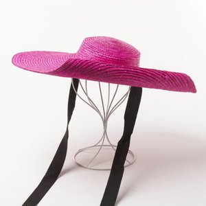01907-HH7228 hot sell handmade color straw brim have soft wire flat lady sun cap women leisure holiday beach hat
