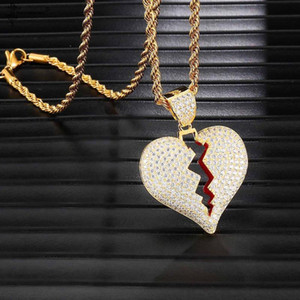 Hip Hop Bijoux émail Micro Pavée CZ Amour Couple Pendent Charm Collier Zircon Glacé brisé Bijoux Collier Coeur