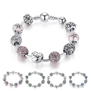 Braccialetto in perline d'argento tibetano fine stile caldo Bracciale Pandora Charms Perle di vetro Bracciale di perline con perline fai da te Rosa Bianco Blu Verde 4 colori Opzionale