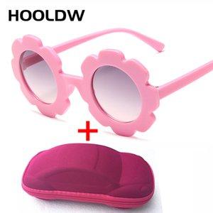 HOOLDW Yeni Çocuk Güneş Erkekler Kızlar Yuvarlak Çiçek Güneş Gözlükleri UV400 Bebek Çocuk Dış Mekan Gezi Gözlük Camları óculos De Sol