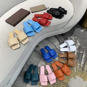 Mode-Frauen-Absatz Lido Sandalen Sommer Slipper Gewebte Leder Mules Squared Sole Slides Hochzeitsschuhe Kleid sexy Schuhe mit Box