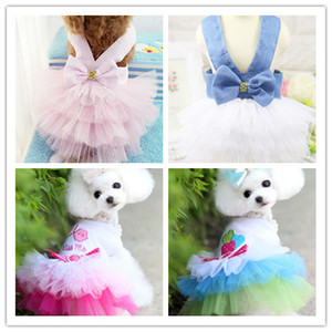 pet dog cat summer dress jean lace party dress for pet puppy summer clothing clothes