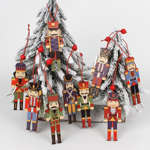 Legno 3Pcs legno Schiaccianoci Soldato Decorazione natalizia Pendenti Ornamenti per Xmas Tree festa di Capodanno Doll Bambini Decor