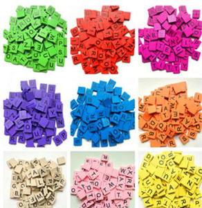100Pcs set Colorful English Words Wooden Letters Alphabet Tiles Black Scrabble Letters & Numbers For Crafts Wood