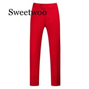 Homens Pure Color Negócios Ocupação Slim Fit Vestido Escritório Calças Mens Terno Vestido Formal calças casual para homens