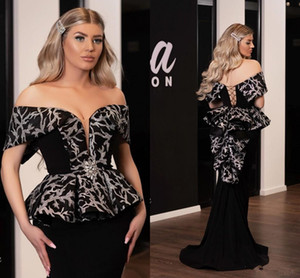 Aso Ebi 2020 Arabic Black Sexy Evening Dresses Sweetheart Lace Mermaid Prom Dresses Cheap Formal Party Bridesmaid Pageant Gowns
