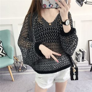 Women See Through Knitted Sweater Summer O Neck Batwing Sleeve Hollow Out Pullover Loose Knitwear Plus Size Oversize Tops