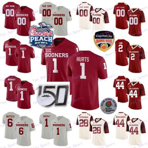 2020 Oklahoma Sooners personalizzato qualsiasi nome Numero Rosso Bianco 1 # 2 Hurts Agnello 11 Haselwood Perkins 150 ° Peach Campione Patch NCAA Football Jersey
